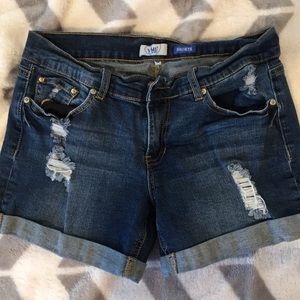 Distressed cuffed jean shorts